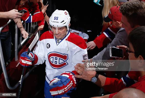 Sergei Gonchar of the Montreal Canadiens walks out to the ice during the NHL game against the Arizona Coyotes at Gila River Arena on March 7 2015 in...