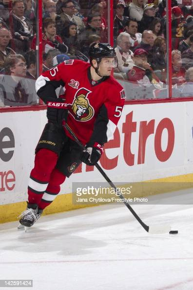 Sergei Gonchar of the Ottawa Senators skates with the puck during an NHL game against the Boston Bruins at Scotiabank Place on April 5 2012 in Ottawa...