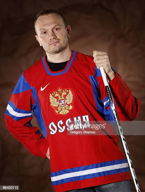 Sergei Gonchar of the Pittsburgh Penguins poses for a portrait in his Team Russia 2010 Olympic jersey on February 3 2010 at Mellon Arena in...