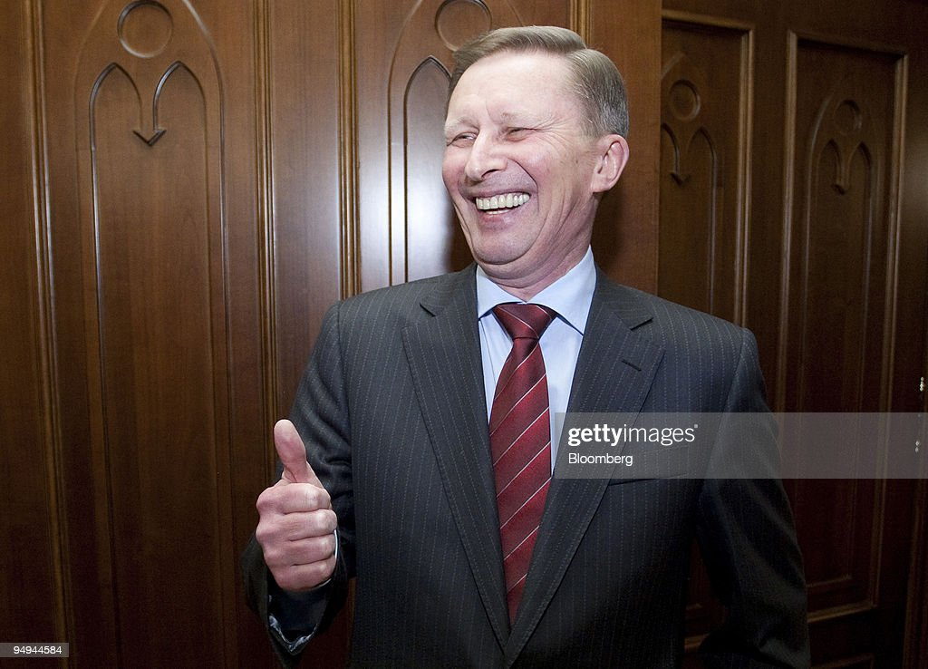 Sergei Ivanov Russia' deputy prime minister gestures after an interview in his government office in Moscow Russia on Tuesday March 24 2009 Russia...