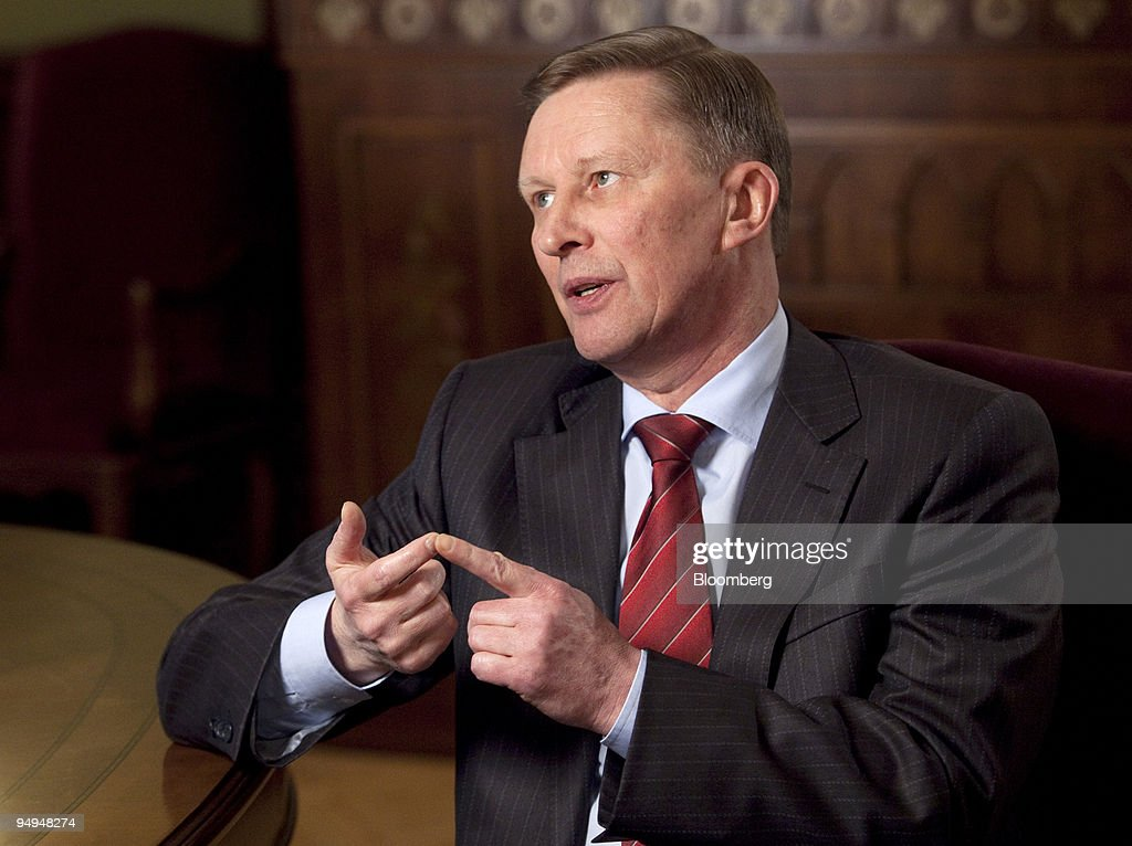 Sergei Ivanov Russia' deputy prime minister gestures during an interview in his government office in Moscow Russia on Tuesday March 24 2009 Russia...
