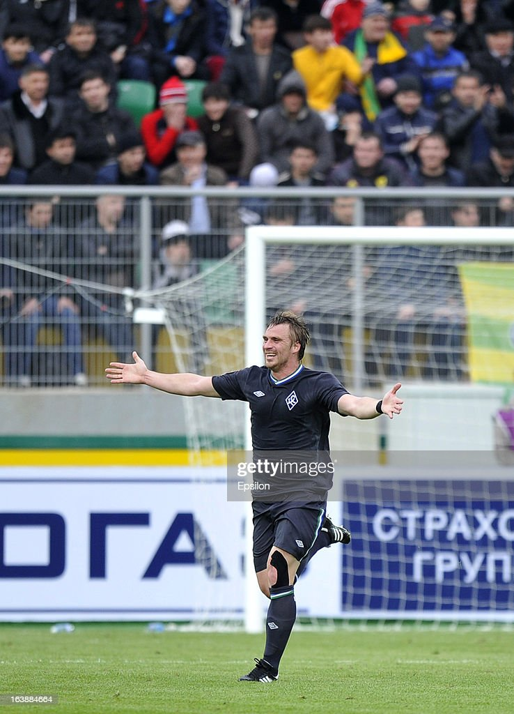 Sergei Kornilenko of FC Krylia Sovetov Samara celebrates after scoring a goal during the Russian Premier League match between FC Anzhi Makhachkala and FC Krylia Sovetov Samara at the Anzhi Arena Stadium on March 17, 2013 in Kaspiysk, Russia.