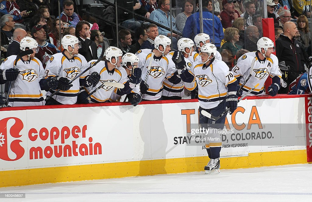 <a gi-track='captionPersonalityLinkClicked' href=/galleries/search?phrase=Sergei+Kostitsyn&family=editorial&specificpeople=599906 ng-click='$event.stopPropagation()'>Sergei Kostitsyn</a> #74 of the Nashville Predators celebrates a goal against the Colorado Avalanche at the Pepsi Center on February 18, 2013 in Denver, Colorado.