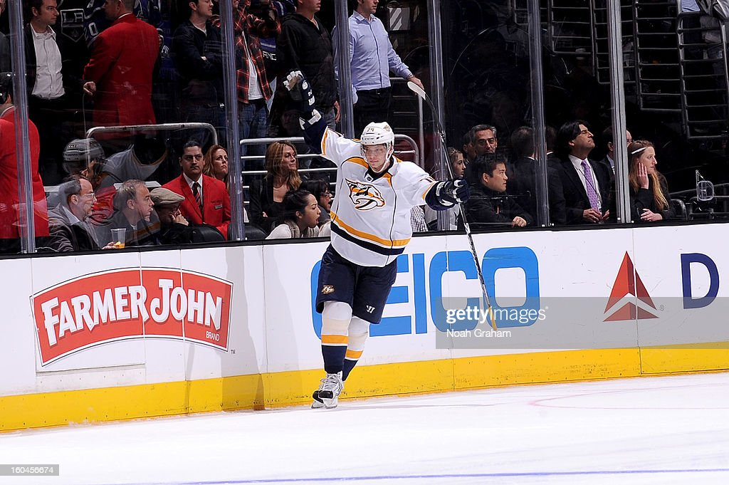 <a gi-track='captionPersonalityLinkClicked' href=/galleries/search?phrase=Sergei+Kostitsyn&family=editorial&specificpeople=599906 ng-click='$event.stopPropagation()'>Sergei Kostitsyn</a> #74 of the Nashville Predators celebrates after scoring the game winning goal in the shoot out against the Los Angeles Kings at Staples Center on January 31, 2013 in Los Angeles, California.