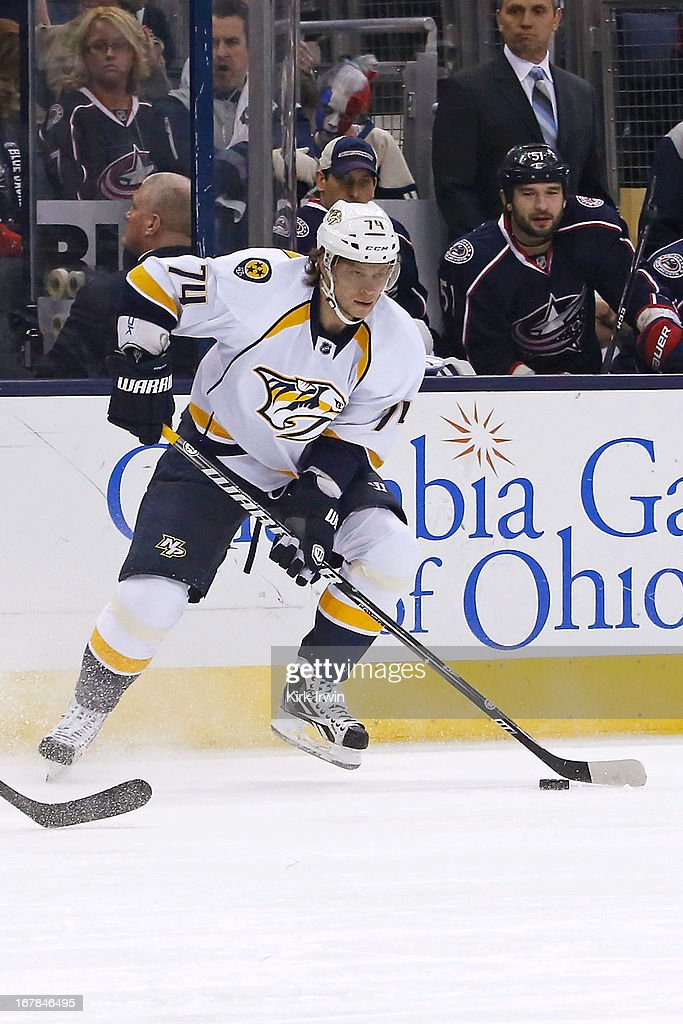 Sergei Kostitsyn #74 of the Nashville Predators controls the puck during the game against the Columbus Blue Jackets on April 27, 2013 at Nationwide Arena in Columbus, Ohio. Columbus defeated Nashville 3-1.