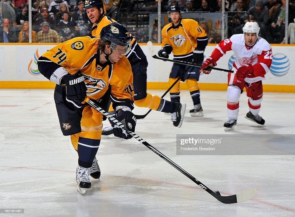 <a gi-track='captionPersonalityLinkClicked' href=/galleries/search?phrase=Sergei+Kostitsyn&family=editorial&specificpeople=599906 ng-click='$event.stopPropagation()'>Sergei Kostitsyn</a> #74 of the Nashville Predators skates against the Detroit Red Wings at the Bridgestone Arena on February 19, 2013 in Nashville, Tennessee.