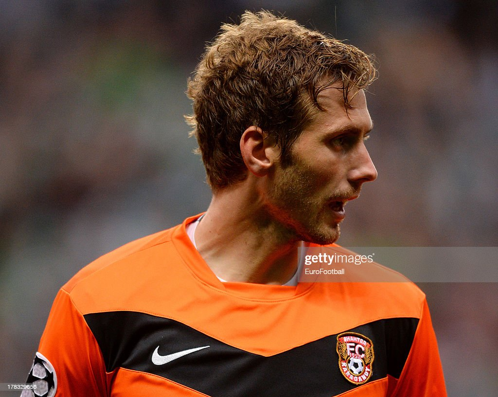 Sergei Maliy of FC Shakhter Karagandy in action during the UEFA Champions League play-off second leg match between Celtic FC and FC Shakhter Karagandy at Celtic Park Stadium on August 28, 2013 in Glasgow, Scotland.