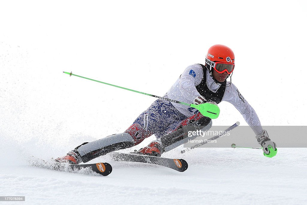 Sergei Maytakov of Russia competes during the Alpine Slalom (FIS Australia New Zealand Cup) during day seven of the Winter Games NZ at Coronet Peak on August 21, 2013 in Queenstown, New Zealand.