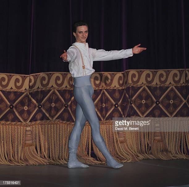 Sergei Polunin on stage the press night performance of Roland Petit's 'Coppelia' at the London Coliseum on July 11 2013 in London England