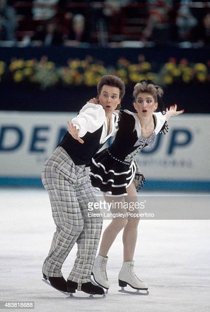 Sergei Ponomarenko and Marina Klimova of Russia performing in the Ice Dancing event during the World Figure Skating Championships in Paris France...