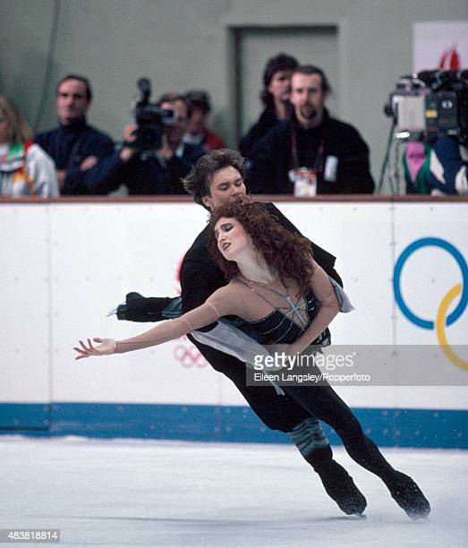 Sergei Ponomarenko and Marina Klimova of Russia performing in the Ice Dancing event during the Winter Olympic Games in Albertville France circa...