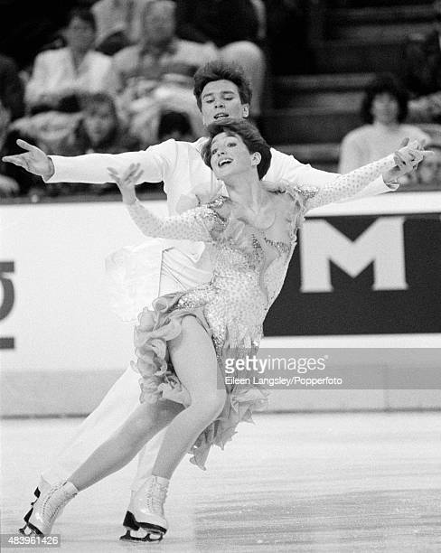 Sergei Ponomarenko and Marina Klimova of Russia performing in the Ice Dancing event during the Ennia Challenge Cup March 1987