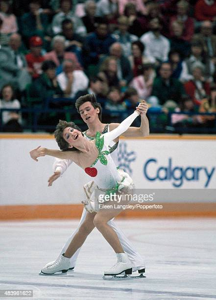 Sergei Ponomarenko and Marina Klimova of Russia performing in the Ice Dancing event during the Winter Olympic Games in Calgary Canada circa February...