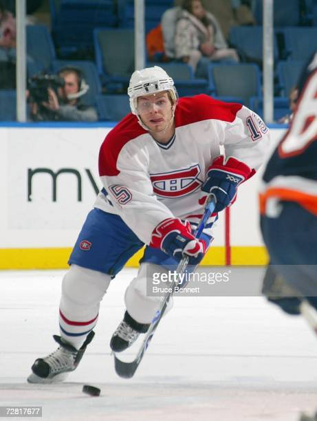 Sergei Samsonov of the Montreal Canadiens skates with the puck during the game against the New York Islanders on December 7 2006 at the Nassau...