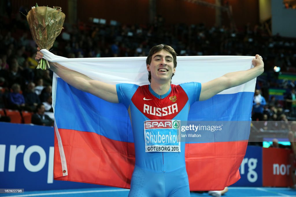 Sergei Shubenkov of Russia celebrates winning gold in the Men's 60m Hurdles Final during day one of the European Athletics Indoor Championships at Scandinavium on March 1, 2013 in Gothenburg, Sweden.