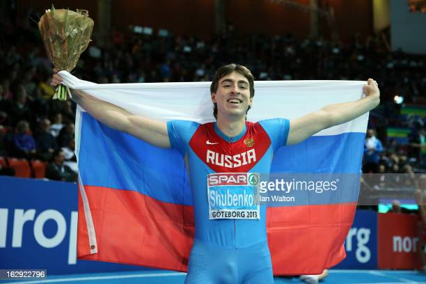 Sergei Shubenkov of Russia celebrates winning gold in the Men's 60m Hurdles Final during day one of the European Athletics Indoor Championships at...