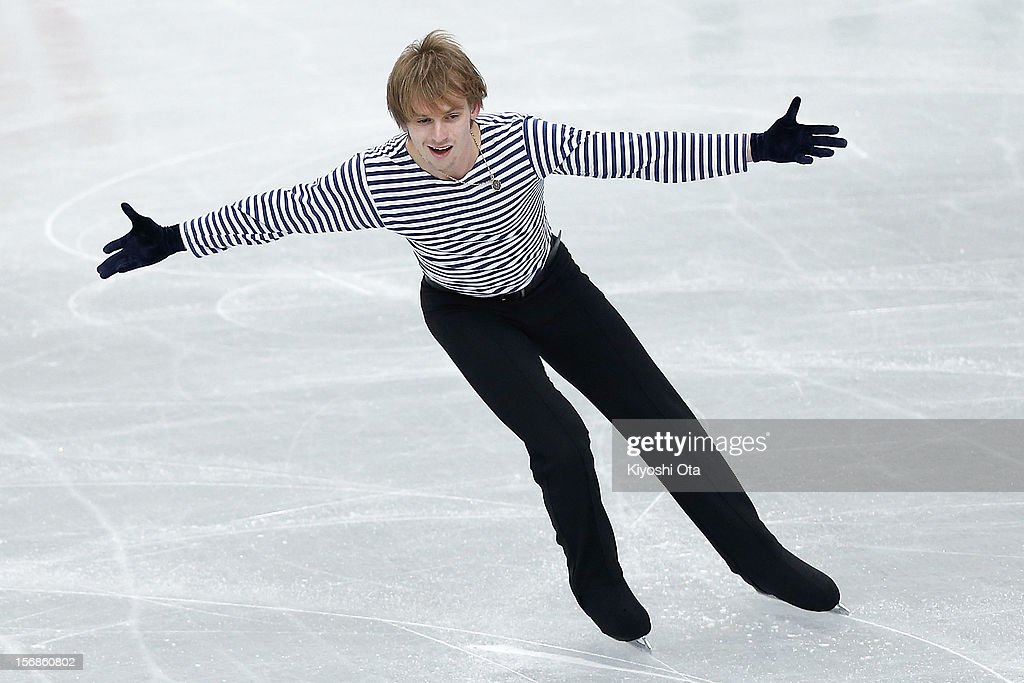 <a gi-track='captionPersonalityLinkClicked' href=/galleries/search?phrase=Sergei+Voronov&family=editorial&specificpeople=3990203 ng-click='$event.stopPropagation()'>Sergei Voronov</a> of Russia competes in the Men Short Program during day one of the ISU Grand Prix of Figure Skating NHK Trophy at Sekisui Heim Super Arena on November 23, 2012 in Rifu, Japan.