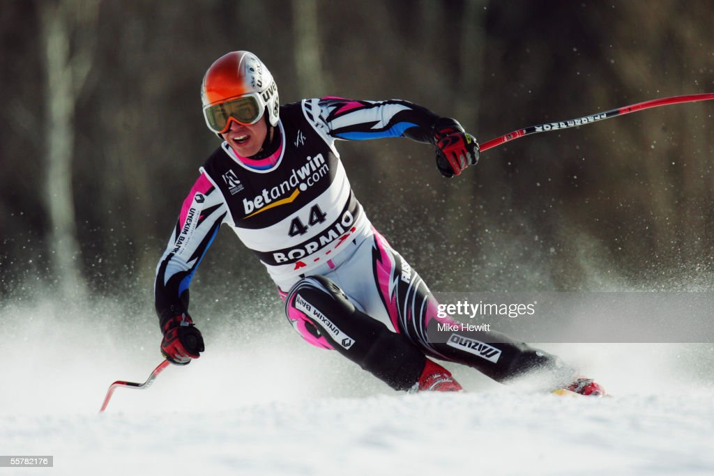 Sergeij Komarov of Russia in action during the Men's Super-G at the FIS Alpine World Ski Championships on January 29, 2005 in Bormio, Italy.