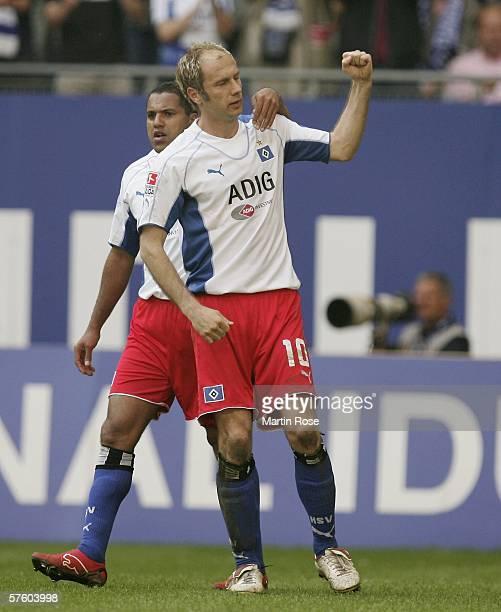 Sergej Barbarez of Hamburg celebrates after scoring the 1st goal during the Bundesliga match between Hamburg SV and Werder Bremen at the AOL Arena on...