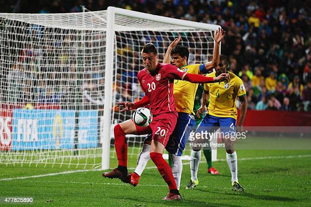 Sergej Milinkovic of Serbia controls the ball during the FIFA U20 World Cup Final match between Brazil and Serbia at North Harbour Stadium on June 20...