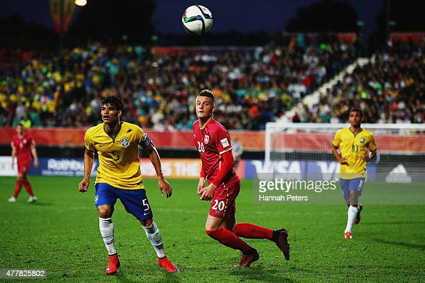 Sergej Milinkovic of Serbia flicks the ball forward during the FIFA U20 World Cup Final match between Brazil and Serbia at North Harbour Stadium on...