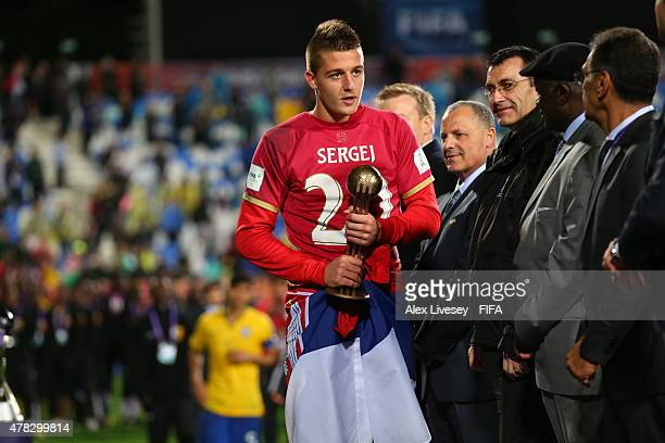 Sergej Milinkovic of Serbia receives the Bronze ball after the FIFA U20 World Cup Final match between Brazil and Serbia at North Harbour Stadium on...