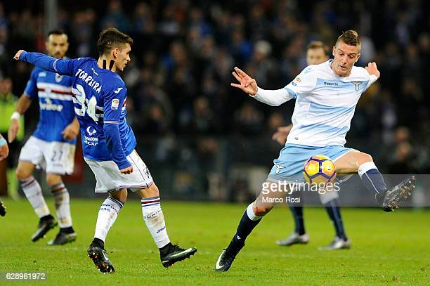 Sergej Milinkovic of SS Lazio compete for the ball with Lucas Torreira UC Sampdoria during the Serie A match between UC Sampdoria and SS Lazio at...