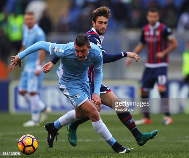 Sergej Milinkovic of SS Lazio competes for the ball with Marcus Christen Rohden of FC Crotone during the Serie A match between SS Lazio and FC...