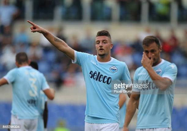 Sergej Milinkovic of SS Lazio gestures during the Serie A match between SS Lazio and AC Milan at Stadio Olimpico on September 10 2017 in Rome Italy