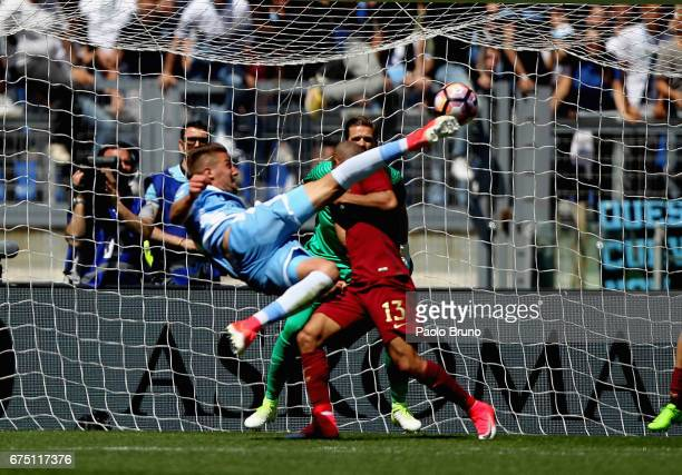 Sergej Milinkovic of SS Lazio in action during the Serie A match between AS Roma and SS Lazio at Stadio Olimpico on April 30 2017 in Rome Italy