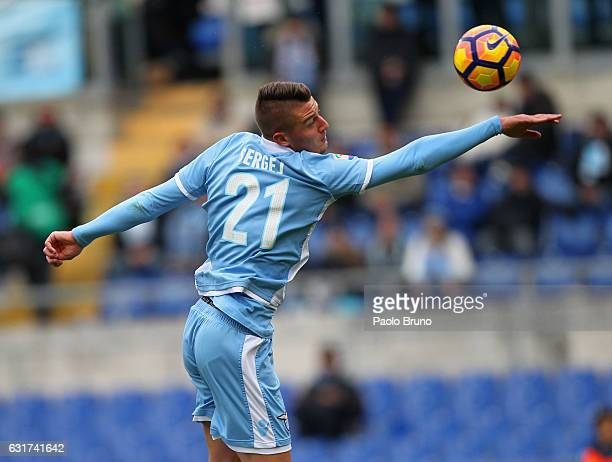 Sergej Milinkovic of SS Lazio in action during the Serie A match between SS Lazio and Atalanta BC at Stadio Olimpico on January 15 2017 in Rome Italy