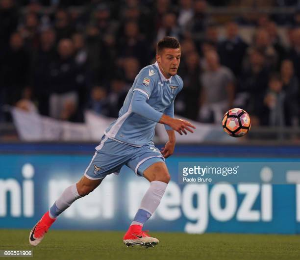 Sergej Milinkovic of SS Lazio in action during the Serie A match between SS Lazio and SSC Napoli at Stadio Olimpico on April 9 2017 in Rome Italy