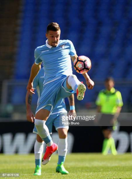 Sergej Milinkovic of SS lazio in action during the Serie A match between SS Lazio and US Citta di Palermo at Stadio Olimpico on April 23 2017 in Rome...