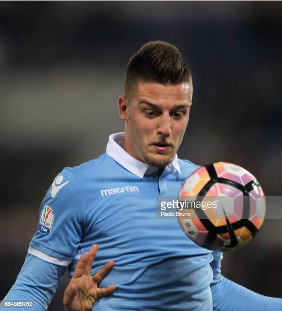 Sergej Milinkovic of SS Lazio in action during the TIM Cup match between AS Roma and SS Lazio at Stadio Olimpico on April 4 2017 in Rome Italy