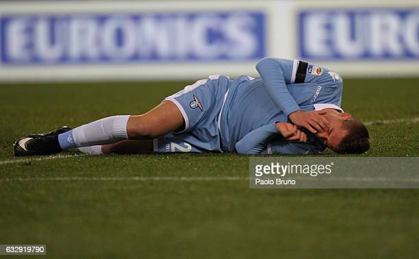 Sergej Milinkovic of SS Lazio is injured during the Serie A match between SS Lazio and AC ChievoVerona at Stadio Olimpico on January 28 2017 in Rome...