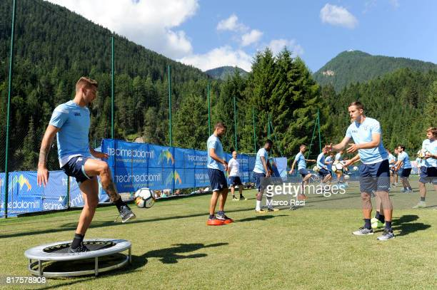 Sergej Milinkovic Savic and Adam Marusic of SS Lazio during the SS Lazio PreSeason Training Camp on July 18 2017 in Pieve di Cadore Italy
