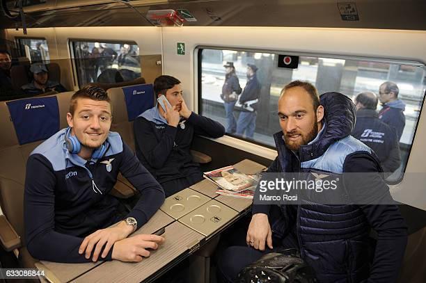 Sergej MIlinkovic Savic and Ivan Vargic of SS Lazio depart for Milan on January 30 2017 in Rome Italy