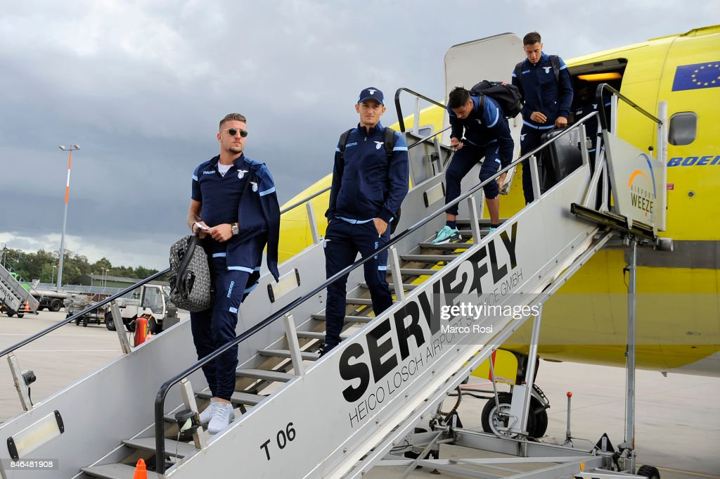 Sergej MIlinkovic Savic disembarks the plane as SS Lazio travel to Arnhem ahead of their UEFA Europa League match against Vitesse Arnhem on September 13, 2017 in Arnhem, Netherlands.