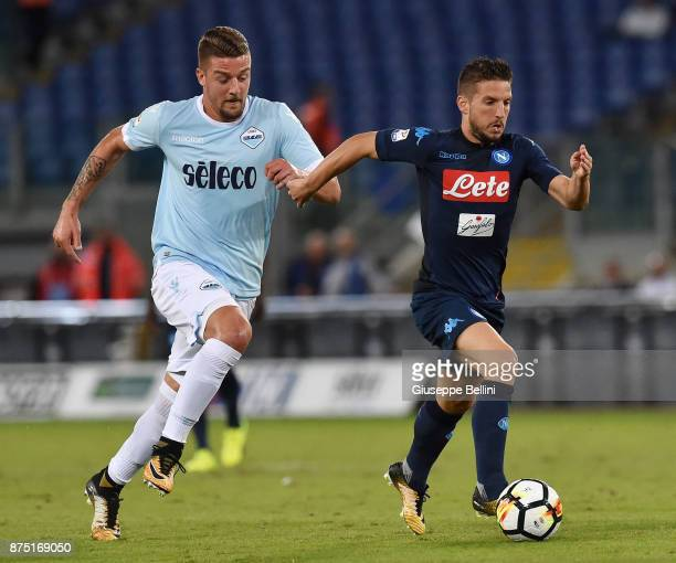 Sergej Milinkovic Savic of SS Lazio and Dries Mertens of SSC Napoli in action during the Serie A match between SS Lazio and SSC Napoli at Stadio...