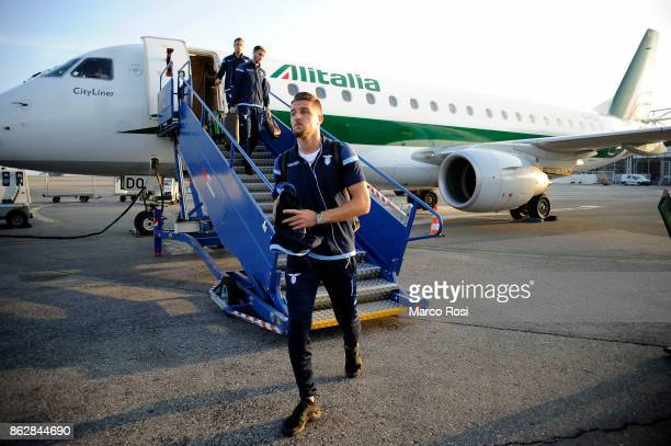 Sergej Milinkovic Savic of SS Lazio arrives at the airport before the SS Lazio walk around and press conference at Allianz Riviera Stadium on October...
