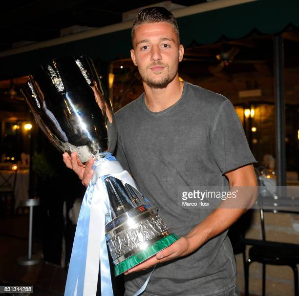 Sergej Milinkovic Savic of SS Lazio attends a party to celebrate their 23 victory over Juventus in the Italian Super Cup on August 14 2017 in Rome...