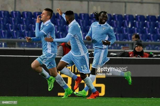 Sergej Milinkovic Savic of SS Lazio celebrates a opening goal during the TIM Cup match between SS Lazio and AS Roma at Olimpico Stadium on March 1...