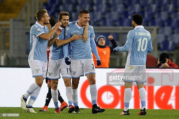 Sergej Milinkovic Savic of SS Lazio celebrates a third goal with his teammates during the TIM Cup match between SS Lazio and Genoa CFC at Olimpico...