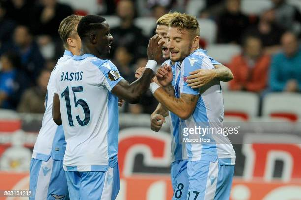 Sergej MIlinkovic Savic of SS Lazio celebrates a third goal with his team matesduring the UEFA Europa League group K match between OGC Nice and Lazio...
