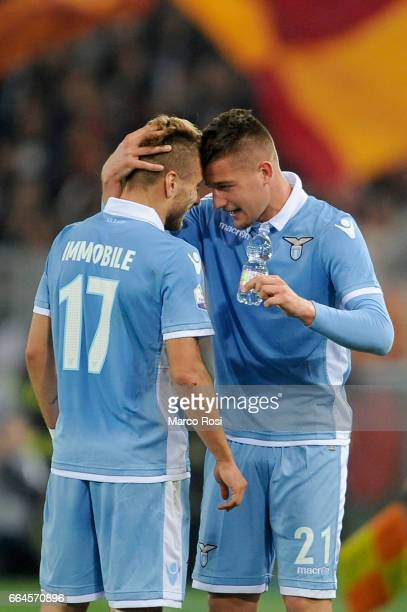 Sergej Milinkovic Savic of SS Lazio celebrates the opening goal wit his team mate during the TIM Cup match between AS Roma and SS Lazio at Stadio...