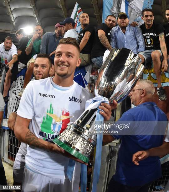 Sergej Milinkovic Savic of SS Lazio celebrates the victory afrer the Italian Supercup match between Juventus and SS Lazio at Stadio Olimpico on...