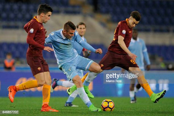 Sergej Milinkovic Savic of SS Lazio compete for the ball with Kevin Strootman of AS Roma during the TIM Cup match between SS Lazio and AS Roma at...
