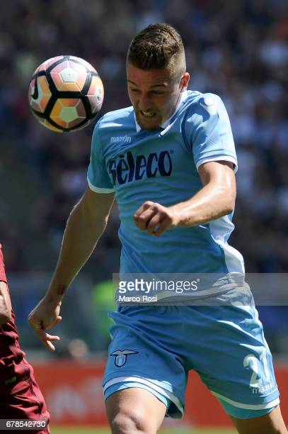 Sergej Milinkovic Savic of SS Lazio during the Serie A match between AS Roma and SS Lazio at Stadio Olimpico on April 30 2017 in Rome Italy