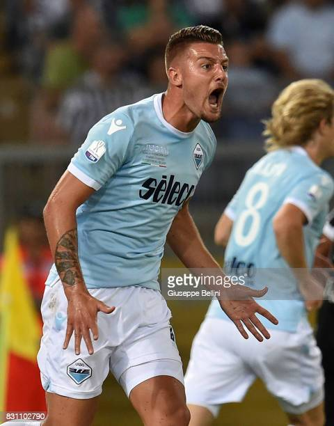 Sergej Milinkovic Savic of SS Lazio in action during the Italian Supercup match between Juventus and SS Lazio at Stadio Olimpico on August 13 2017 in...