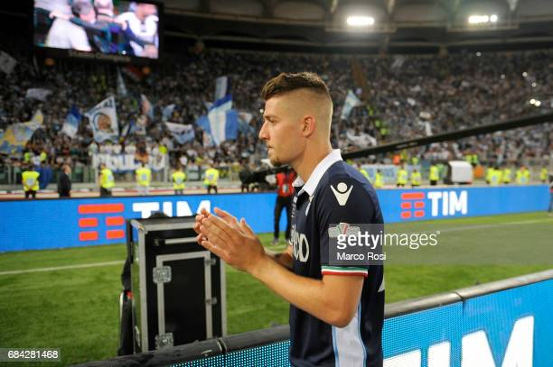 Sergej Milinkovic Savic of SS Lazio reacts at the end of the match after the TIM Cup Final match between SS Lazio and Juventus FC at Olimpico Stadium...